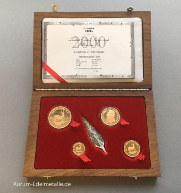 Südafrika Krügerrand Millennium Set 2000 Silber Speerspitze Limited Edition