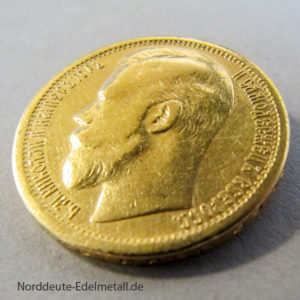 Russland 15 Rubel Gold Zar Nikolaus II 1897 Goldmünze