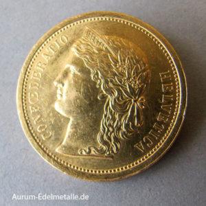 Schweiz Helvetica 20 Franken 1886 Goldmünze