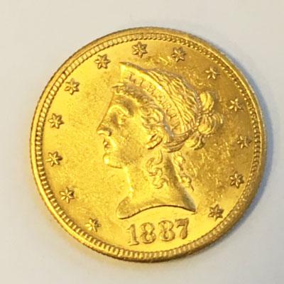 USA 10 $ Dollars Gold Eagle Liberty Head 1887