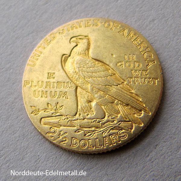 USA 2,5 $ Dollars Gold Indian Head Quarter-Eagle 1912