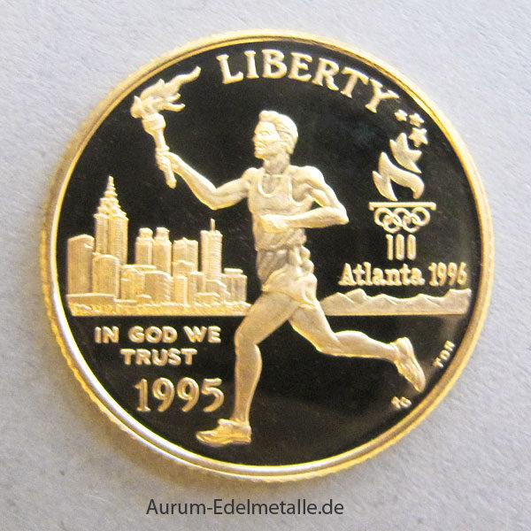 USA 5 Dollar 1995 Olympiade Atlanta Fackelläufer Stadion Goldmünzen