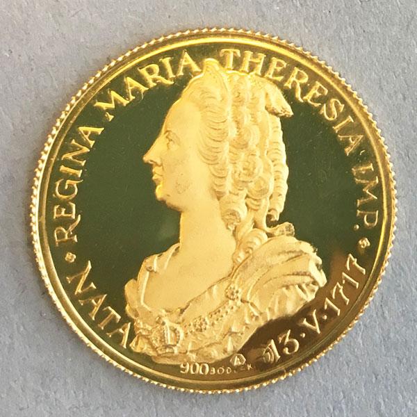 österreich Maria Theresia Gedenkmünze 900 Gold Nata 1717 Aurum