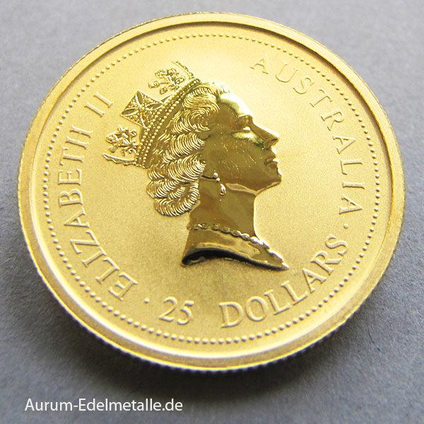 Australien Kangaroo Gold Nugget 1_4oz 25 Dollars 1996