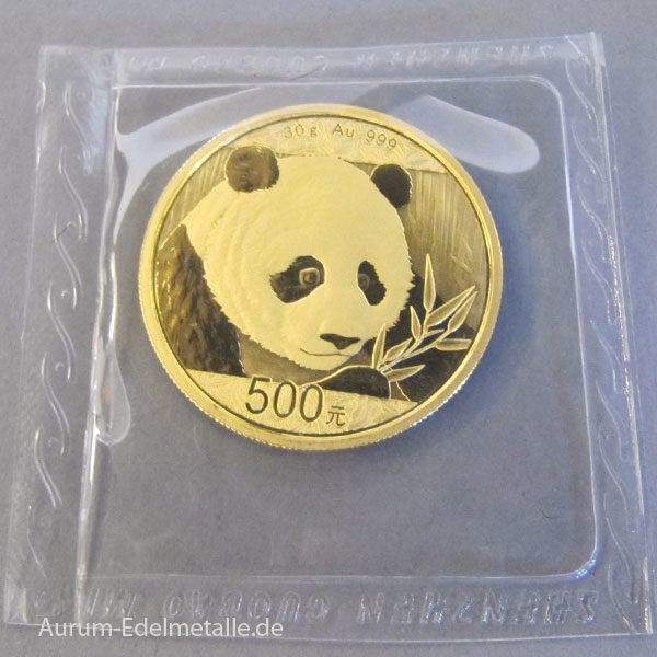 China Panda 500 Yuan 2018 Goldmünze 30 Gramm