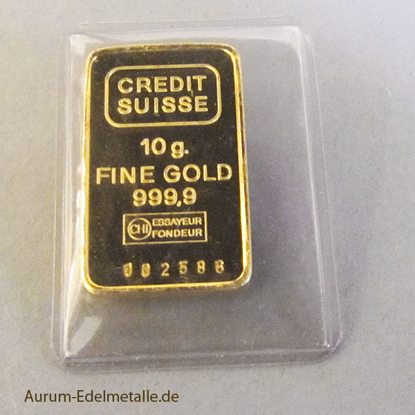 Goldbarren 10g Feingold 9999 Credit Suisse