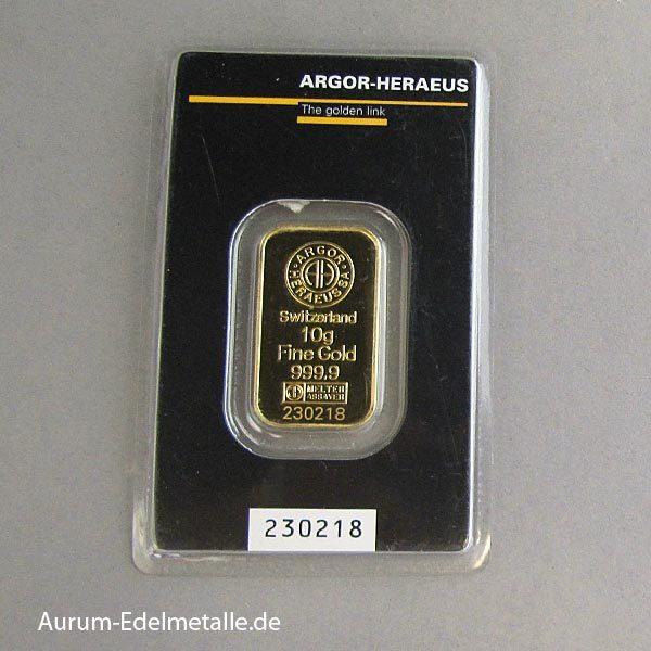 Goldbarren 10g Feingold 9999 von div Herstellern