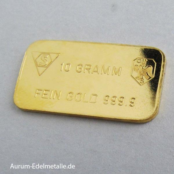 Goldbarren 10g Feingold 9999 diverse Hersteller