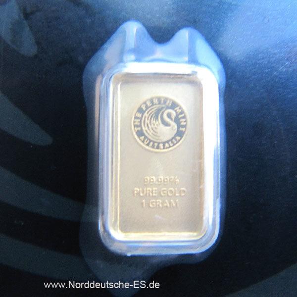 Goldbarren 1g Feingold 9999 Australien Perth Mint