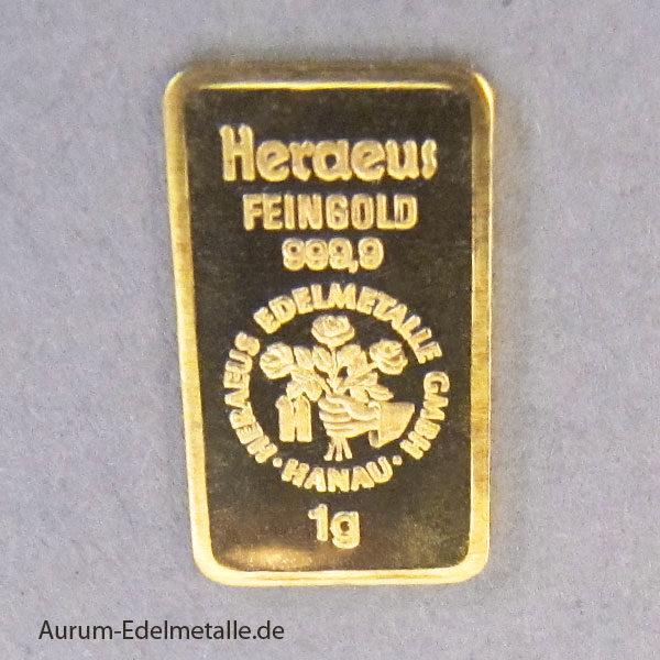 Goldbarren Heraeus 1 Gramm Feingold 9999