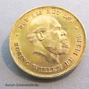 Niederlande 10 Gulden Gold König Willem III 1876-1889
