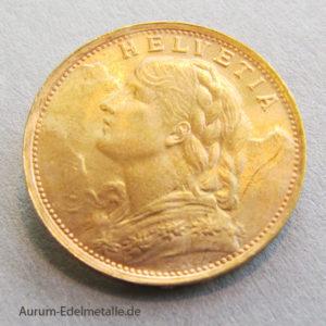 Schweiz Vreneli 20 Franken Goldmünze 1935 Helvetia