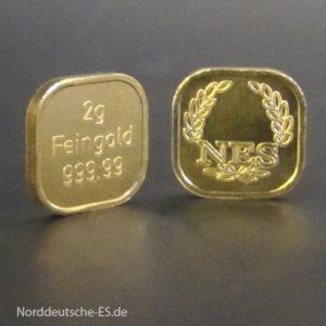 2 g Goldbarren Superfeingold 999.99 Norddeutsche ES