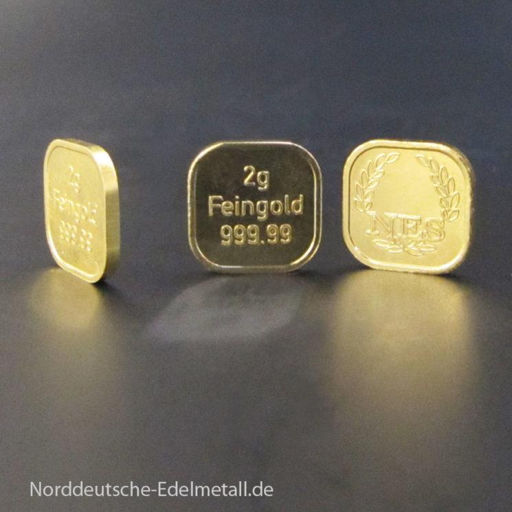2g Goldbarren Superfeingold 999.99‰ Norddeutsche ES