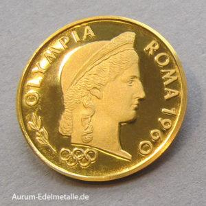 Aureus Magnus 1 Dukat Gold 1960 Olympia Roma