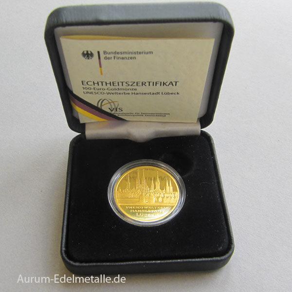 100 Euro Lübeck 2007 Gold Weltkulturerbe