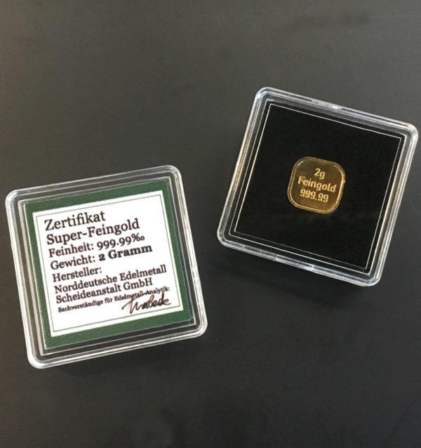 Diese 2g Goldbarren aus Super Feingold 99999