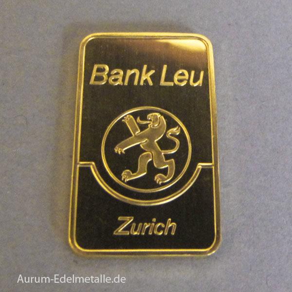 Goldbarren 100g Feingold 9999 historisch Bank LEU Zurich