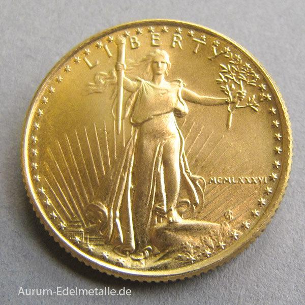 USA 10 Dollars 1_4oz Quater Eagle Goldmünze 1986