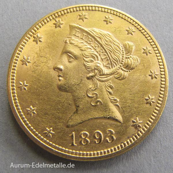 USA 10 Dollars Gold Eagle Liberty Head 1893