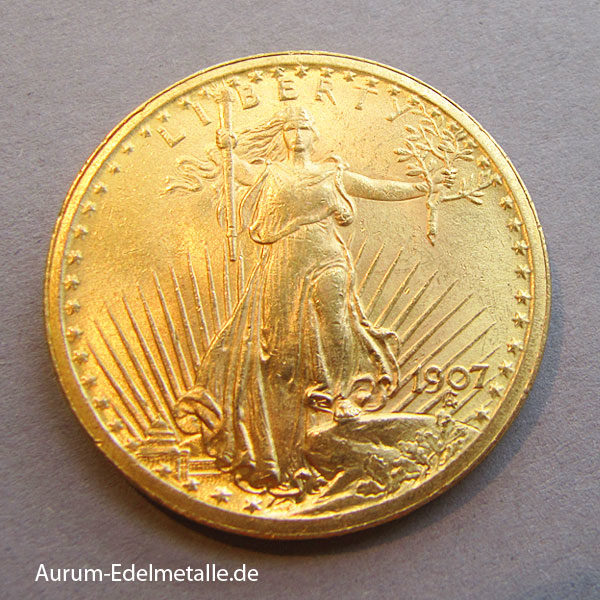 USA 20 Dollars Gold St. Gaudens Double Eagle 1907