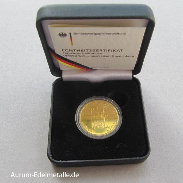 100 Euro Gold UNESCO Weltkulturerbe Quedlinburg 2003
