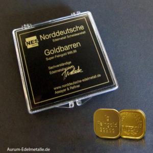 25 Gramm Tafelgold 1g Barren Superfeingold 99999
