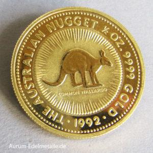 Australien 1_2 oz Kangaroo Nugget 1992 Gold