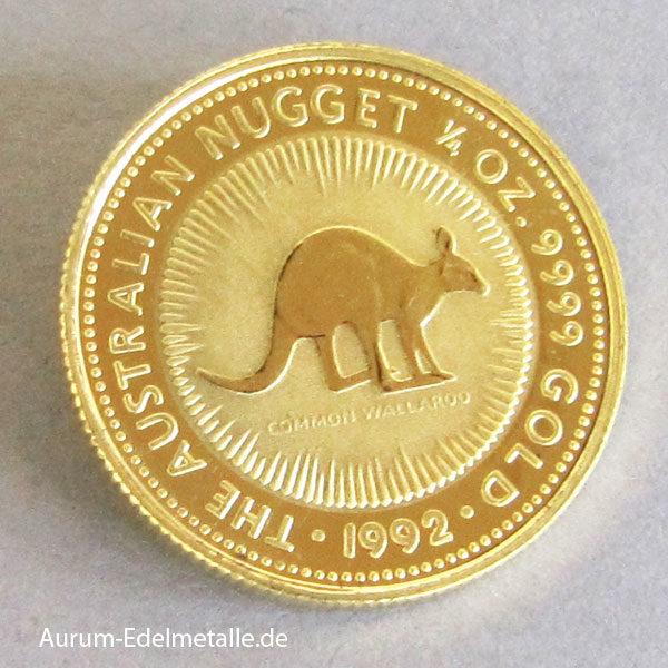Australien Kangaroo Nugget 1/4 oz Goldmünze 1992
