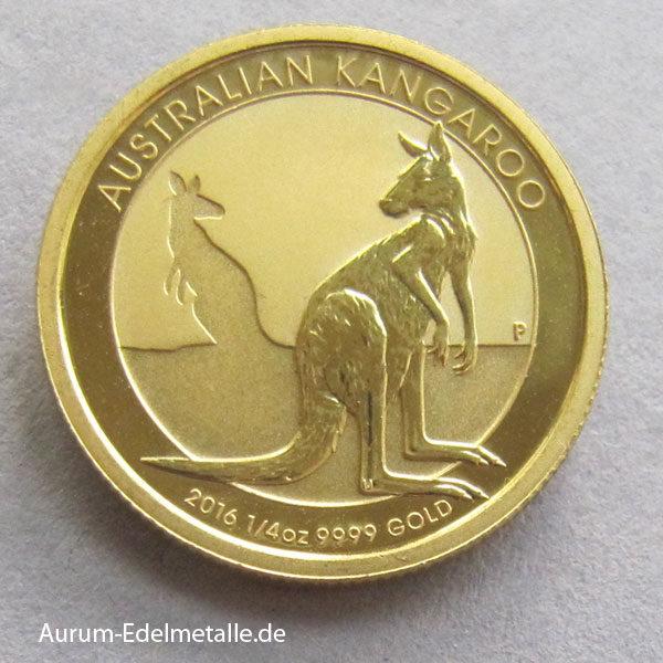 Australien Kangaroo Nugget 1/4 oz Gold 2016