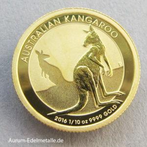 Australien Nugget Kangaroo 1_10 oz Gold 2016