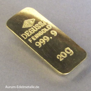 Degussa Goldbarren 20g Sargform