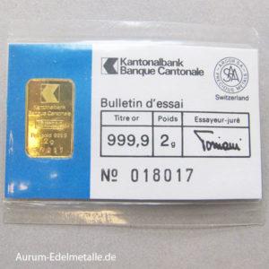 Goldbarren 2g Feingold 9999 Zürcher Kantonalbank