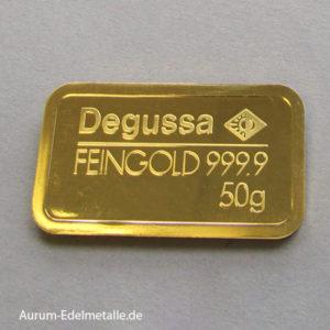Goldbarren 50g Degussa