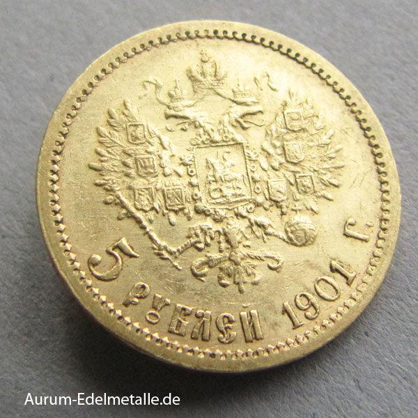 Russland 5 Rubel Gold 1901 Zar Nikolaus II
