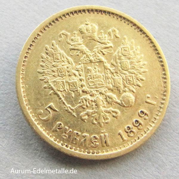Russland 5 Rubel Gold Zar Nikolaus II 1899