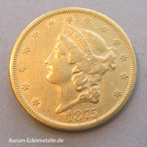 USA 20 Dollars Double Eagle Liberty Head 1875 Gold