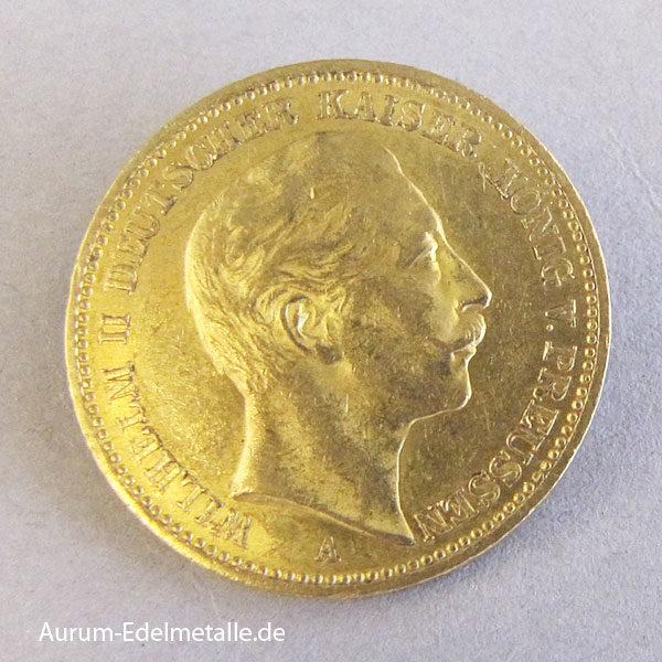 20 Mark Goldmünze Wilhelm II Preussen 1896