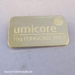 Goldbarren 10g Feingold 9999 Umicore gestanzt