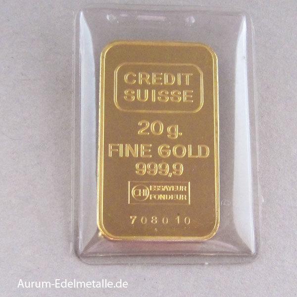 Goldbarren 20g Feingold 9999 Credit Suisse