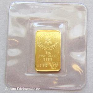Goldbarren 5 Gramm Feingold 9999 Swiss Bank Corporation