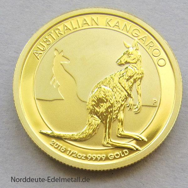 Australien Kangaroo Nugget 1_2 oz Gold 2016