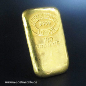 Goldbarren 100g Johnson Matthey