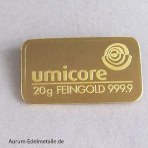 Goldbarren 20g Feingold 9999 Umicore