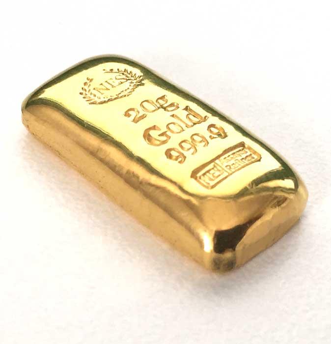 20g Goldbarren Feingold 9999 Norddeutsche ES, A&R, gegossen, mit Zertifikat