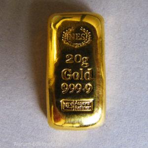 Goldbarren 20g Feingold 9999 Norddeutsche ES gegossen