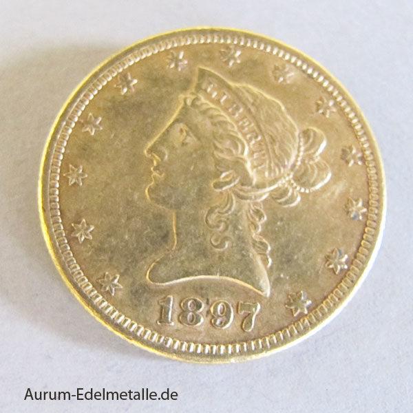 USA 10 Dollars Gold Eagle Liberty Head 1897
