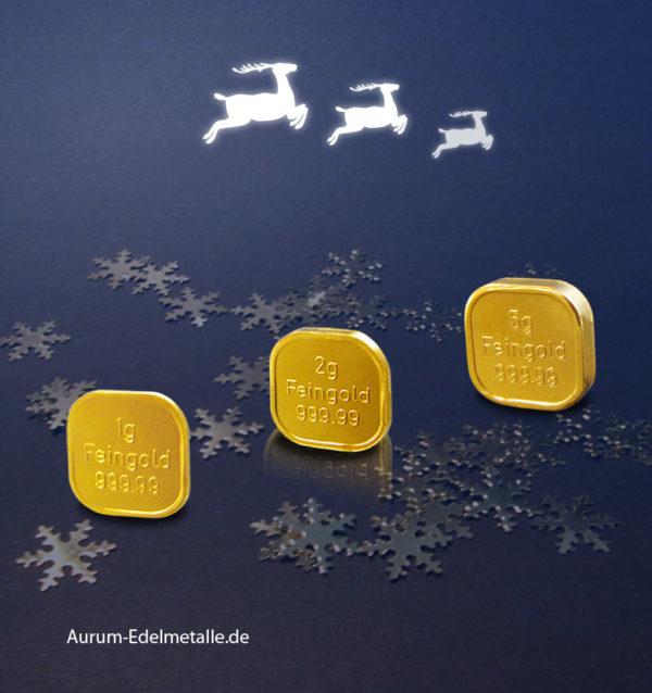 8 Gramm Superfeingold Weihnachten Rentiere