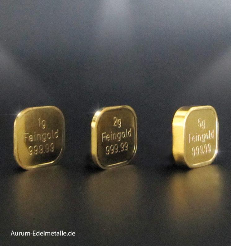 Goldbarren aus Superfeingold 99999 1g 2g 5g  Norddeutsche ES