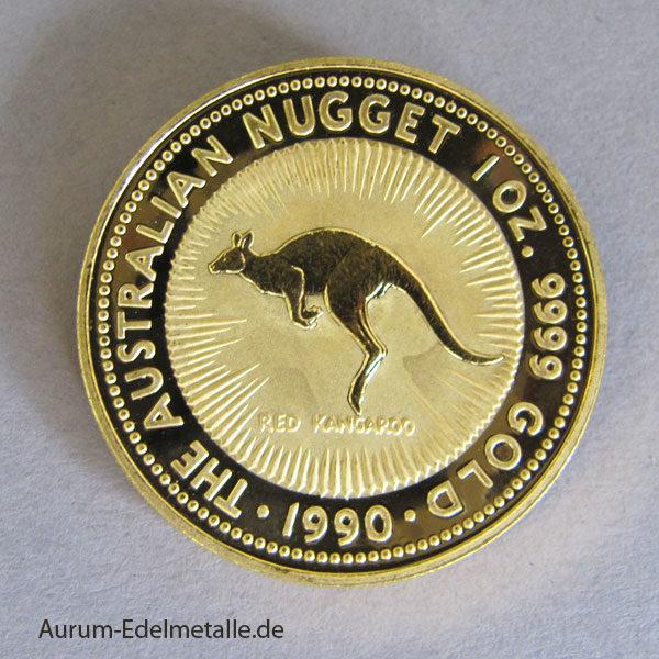 Australien Nugget Kangaroo 1990 Gold 1 oz 100 Dollars